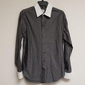 Armani Collezioni Gray Striped Dress Shirt 15.5